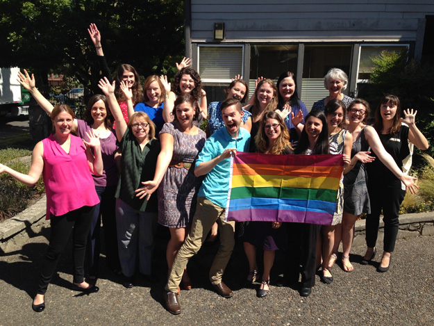 NWSC and Bouneff & Chally staff celebrating the U.S. Supreme Court ruling on gay marriage